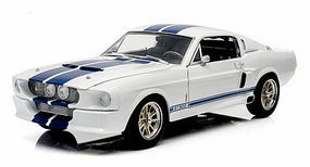 Green-Light 1967 Shelby GT-500 White/Blue Diecast Model Car 1/18 Scale #12929