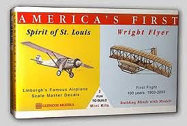 Glencoe Models Spirit of St. Louis and Wright Brother's Flyer -- Plastic Model Airplane Kit -- 1/100 -- #03102