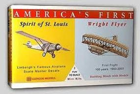 Glencoe Spirit of St. Louis and Wright Brothers Flyer Plastic Model Airplane Kit 1/100 #03102