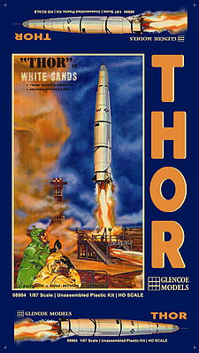 Glencoe Models THOR Missle & Launch Pad 1-87 -- Science Fiction Plastic Model -- #08904