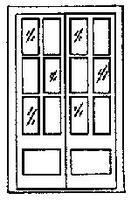 Grandt 69 12 Pane Assay Office Double Door (2) HO Scale Model Railroad Building Accessory #5022
