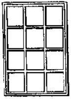 Grandt 12 Pane Single Sash Window (4) HO Scale Model Railroad Building Accessory #5077