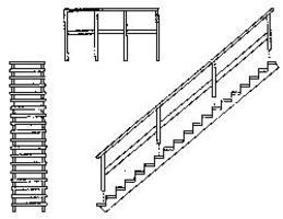 Grandt 39 Wooden Staircase w/Open Risers & Landing HO Scale Model Railroad Building Accessory #5177