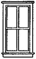 Grandt 4 Pane Double Hung Window (8) HO Scale Model Railroad Building Accessory #5215