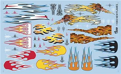 Gofer Racing Models Decals New Type Flames -- Plastic Model Vehicle Decal -- 1/24 Scale -- #11003