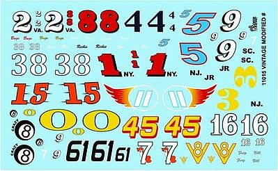 Gofer Racing Models Decals Vintage Modified Car Numbers -- Plastic Model Vehicle Decal -- 1/24 Scale -- #11015
