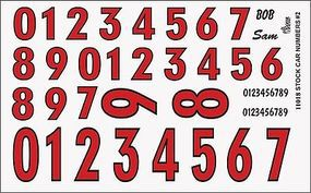 Gofer-Racing Stock Car Numbers #2 (Red) Plastic Model Vehicle Decal 1/24 Scale #11018