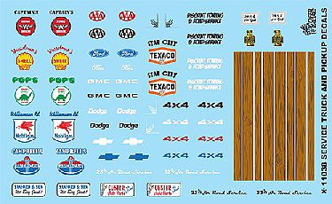 Gofer Racing Models Decals 1/24-1/25 Service Truck & Pickup Logos #2 -- Plastic Model Vehicle Decal -- #11038