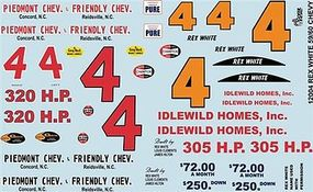 Gofer-Racing 1959/60 Chevy Rex White Graphics Plastic Model Vehicle Decal 1/24 Scale #12004