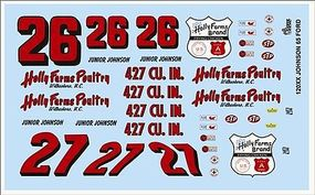 Gofer-Racing 1965 Ford Junior Johnson Race Car Graphics Plastic Model Vehicle Decal 1/24 Scale #12005