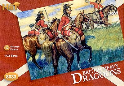 Hat Industries Figures British Dragoons -- Plastic Model Military Figure Set -- 1/72 Scale -- #8033