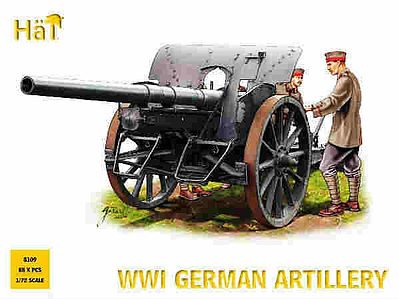 Hat Industries Figures WWI German Artillery -- Plastic Model Weapon Kit -- 1/72 Scale -- #8109