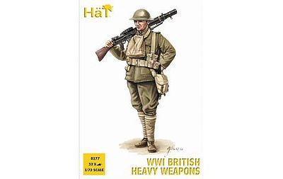 Hat Industries Figures WWI British Heavy Weapons -- Plastic Model Military Figure Set -- 1/72 Scale -- #8177