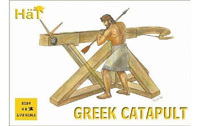 Hat Industries Figures Greek Catapults -- Plastic Model Weapon Kit -- 1/72 Scale -- #8184