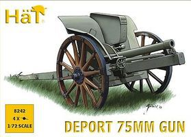 Hat WWI Italian 75mm Deport Gun Plastic Model Weapon Kit 1/72 Scale #8242