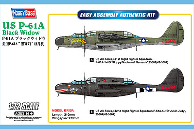 Hobby Boss US P-61A Black Widow -- Plastic Model Airplane Kit -- 1/72 Scale -- #87261