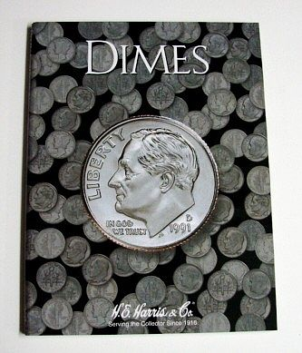 H.E. Harris Dimes Plain Coin Folder -- Coin Collecting Book and Supply -- #2686