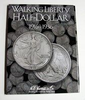 HE-Harris Walking Liberty Half Dollar 1916-1936 Coin Folder Coin Collecting Book and Supply #2693