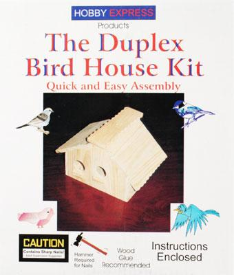Hobby Express Duplex Birdhouse Kit with PD Holes -- Wooden Bird House Kit -- #60004pd