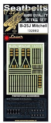 HGW Models 1/32 B25J Mitchell Seatbelts for HKM (Fabric/Photo-Etch Buckles)