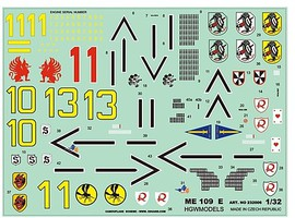 HGW-Models 1/32 Bf109E Stencils with Extra Markings for EDU, DML, TSM (Wet Transfers)