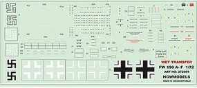 HGW-Models 1/72 Fw190A Stencils for ACY, ARX, EDU, TAM, RVL (Wet Transfers)