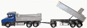 Herpa Scania T Dump Truck w/Dump Trailer (blue) G Scale Model Railroad Vehicle #20454