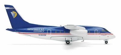 Herpa Models Midwest Air Express Dornier 328 -- Diecast Model Airplane -- 1/200 Scale -- #551717