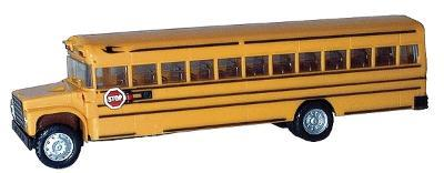Herpa Models School Bus - Assembled - Yellow, Black -- HO Scale Model Railroad Vehicle -- #6100