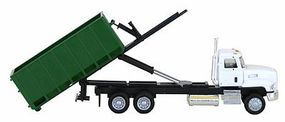 Herpa Mack Truck Tractor w/Roll-Off Container White, Green HO Scale Model Railroad Vehicle #6443