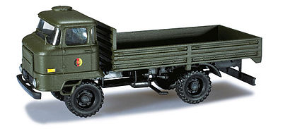 Herpa Models Iron Pig East Ifa L60 German Army Flatbed Truck -- HO Scale Model Railroad Vehicle -- #744201
