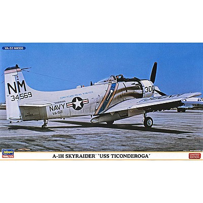 Hasegawa A-1H Skyraider USS Ticonderoga (2 kits) -- Plastic Model Airplane Kit -- 1/72 Scale -- #02262