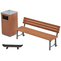 Hasegawa 1/12 Park Bench and Trash Can