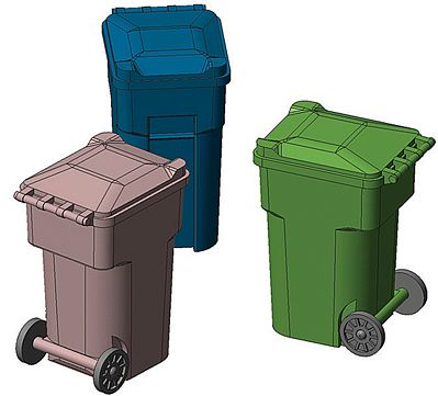 Hi-Tech Details HO Green Yard Trash Cans (6)