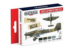 Hataka Red Line (Airbrush-Dedicated)- Early Luftwaffe 1937-40 Camouflage Paint Set (4 Colors) 17ml Bottles
