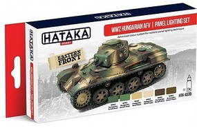 Hataka Red Line (Airbrush-Dedicated)- WWII Hungarian AFV Panel Lighting Paint Set (6 Colors) 17ml Bottles