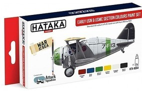 Hataka Red Line (Airbrush-Dedicated)- Early USN & USMC Section Colors 1931-41 Paint Set (6 Colors) 17ml Bottles