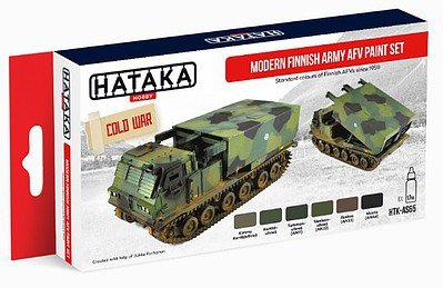 Hataka Hobby Red Line (Airbrush-Dedicated)- Modern Finnish Army AFV Since 1959 Paint Set (6 Colors) 17ml Bottles