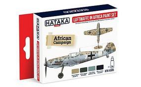 Hataka Red Line (Airbrush-Dedicated)- Luftwaffe in Africa Camouflage Paint Set (4 Colors) 17ml Bottles