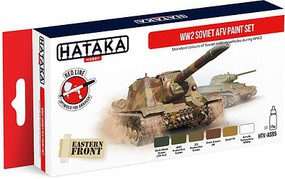 Hataka Red Line (Airbrush-Dedicated)- WWII Soviet AFV Paint Set (6 Colors) 17ml Bottles