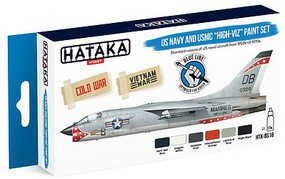 Hataka Blue Line (Brush-Dedicated)- USN & USMC 1950s-70s High-Viz Paint Set (6 Colors) 17ml Bottles