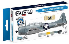 Hataka Blue Line (Brush-Dedicated)- Early USN & USMC 1919-42 Camouflage Paint Set (6 Colors) 17ml Bottles