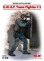 ICM SWAT Team Fighter #2 with Shield (New Tool) Plastic Model Figure Kit 1/24 Scale #24102