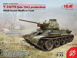 ICM WWII T34/76 1943 Soviet Medium Tank Plastic Model Military Vehicle 1/35 Scale #35366