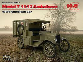 ICM WWI American Model T Ambulance 1917 Plastic Model Military Vehicle Kit 1/35 Scale #35661