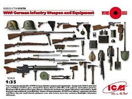 ICM WWI German Infantry Weapon & Equipment Plastic Model Military Figure Kit 1/35 Scale #35678