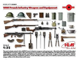 ICM WWI French Infantry Weapons & Equipment Plastic Model Weapon Kit 1/35 Scale #35681
