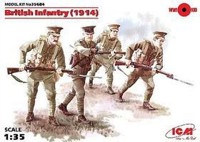 ICM WWI British Infantry with Weapons 1914 (4) Plastic Model Military Figure 1/35 Scale #35684