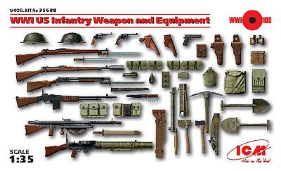ICM Models WWI US Infantry Weapon & Equipment (New Tool) -- Plastic Model Weapon -- 1/35 Scale -- #35688