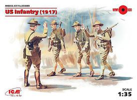 ICM WWI US Infantry 1917 (4) Plastic Model Military Figure 1/35 Scale #35689